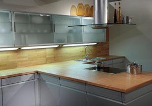 modern kitchen with butcher block tops