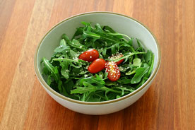 butcherblock countertop with salad bowl